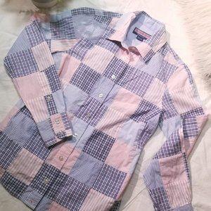 vineyard vines pink/blue patchwork button shirt